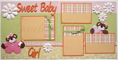 12x12 premade scrapbook pages Sweet Baby Girl. via Etsy.