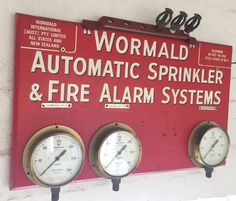 Wormald Automatic Fire Sprinkler & Alarm System gauge cluster & spare head reserve Fire Sprinkler System, Fire Training, Facility Management, Sprinklers, Fire Safety, Budgeting Money, Alarm System, Gauges, Art Images