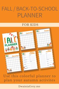 Keep your family organized by planning your family's fall activities. This colorful planner for kids and the whole family to use to plan your autumn and back-to-school. Comes with 2 printable PDF versions and 12+ cover options. Included - Undated Calendar: Aug, Sept, Oct, and Nov - Weekly Planner - Daily Planner - Fall Bucket List - Fall Reading List - Monthly Activity Planner - Indoor and Outdoor Planner - Family Activity Planner - Me Time Planner - Fall Shopping List - Fall Journal Pages Kids Planner, School Planner, Weekly Planner, School Information, Family Organizer, Back To School Shopping, Autumn Activities, Me Time, Marketing And Advertising