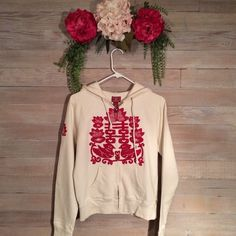 (109) Lucky Brand Zip-up Very comfortable with decorative embroidery on the front! Good condition! No staining, holes etc. 89% cotton, 11% poly. **No trades, no holds. OBO** Lucky Brand Jackets & Coats