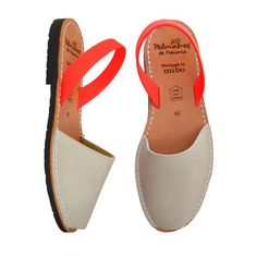 Natural Leather upper with a Neon Coral Napa Leather Back Strap Upper: Leather Inner: Leather Sole: Rubber TR