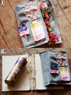 Vintage book sewing kit - i like the idea, but I don't think I'd be able to tear apart a book like that...I couldn't even highlight in my textbooks!