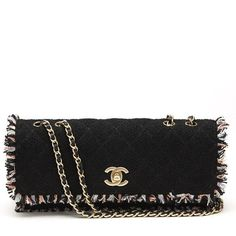 Pre-Owned Chanel Black & Multi Tweed East West Classic Single Flap Bag (€2.240) ❤ liked on Polyvore featuring bags, handbags, black, multi color handbag, flap bag, multi color purse, pre owned handbags and pre owned purses