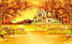 animated house with fall | YOUR TITLE HERE - Foliage Animated Autumn Fall Leafs House Scene eBay ...