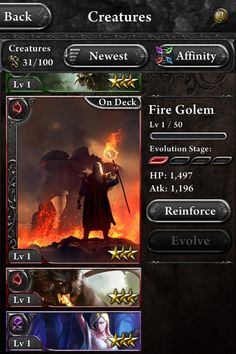 Hellfire / Ngmoco, DeNA  Your character cards are assorted into a vertical deck on the left, as you swipe through the details change on the right. Great UX.