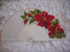 hand painted spanish fan free shipping by txiquisan on Etsy, $27.00
