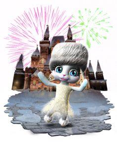 ... com muitos trajes diferentes, como este russo vestido de Ano Novo!