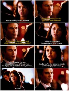 ":( You are so wrong No-Humanity Elena. Rebekah compelled you to tell the truth about sleeping with Damon...""not because of the sire bond, but because I am in love with him."""