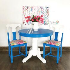 Klein Blue and Snow White Dining Set – Hazir Site Gothic Furniture, White Furniture, Cheap Furniture, Discount Furniture, Painted Furniture, Furniture Nyc, Furniture Ideas, White Dining Set, Restoring Old Furniture