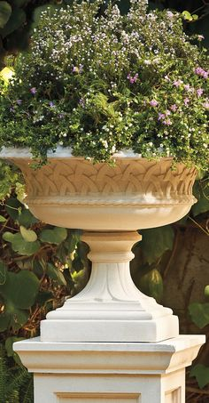 An elegant tazza for a terrace or walkway, our Yorkshire Urn was originally replicated to replace damaged planters at Eastwell Manor, the prestigious country house hotel in Kent known as the Garden of England.
