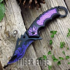 SPRING-ASSIST FOLDING POCKET KNIFE Black Purple Fire Dragon Tactical Karambit #DarkSideBlades