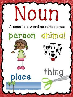 Nouns, Verbs and Adjectives: Posters, activities and printables.