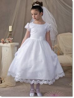 baff62bc273ad 5099 Kaitlin Classic first communion dress Satin with sheer organza sleeves  and overlay with appliques and