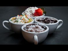 3-Minute Mug Cakes 4 Ways - YouTube
