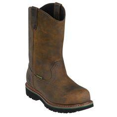 John Deere Work Boots Mens Leather Waterproof Steel Toe Oak JD4382