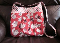 Hobo  Pleated  Rachel Bag  Leaf and Dot  Red  by WeaversHomestead, $35.00