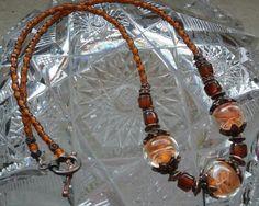 Butterscotch Swirl Bead Necklace  Glass Beads by goosecrossingfarm, $28.00
