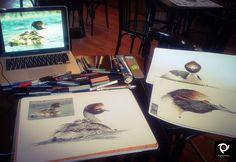 Dibujando Macaes Tobianos en Perito Moreno. Ph. reference Pablo Hernandez.