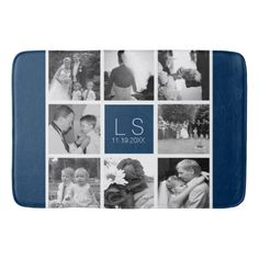 Create Your Own Wedding Photo Collage Monogram Bathroom Mat