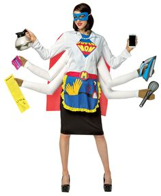 Do you consider yourself a Supermom? If so, this costume will let the world know as well. Costume features 4 attached foam arms and includes a shirt with supermom patch, attached pearl necklace, cape