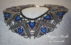 "My first try at saraguro beading technique. ""Magpie's Luck"" - because this collar reminds me of magpie's feathers, and I believe that magpies bring luck. Beaded Necklace Patterns, Beading Patterns, Beaded Jewelry, Dragon Necklace, Bead Loom Bracelets, Beaded Collar, Native American Beading, Blue Butterfly, Loom Beading"