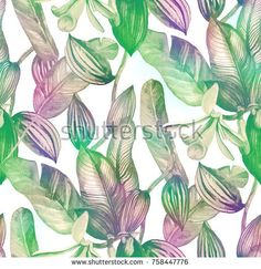 Tropical seamless pattern with vanilla orchid in vintage style
