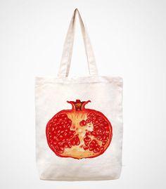 pomegranatehandmade bag/canvas bag/tote bag/canvas by canvasanni, $11.90