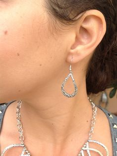 ONLY $12!! Silver metal tearshape earrings