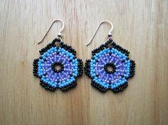 Huichol Style Flower Mandala Earrings Purple door Elewmompittseh