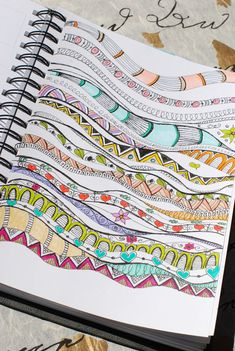 "Practicing various wave designs from ""Zenspirations, Letters & Patterning"" by Joanne Fink. These were colored with assorted Sakura Gelly Roll pens and Tombow markers."