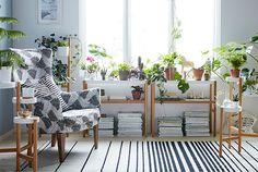 IKEA SATSUMAS Blumenständer aus Bambus und pulverbeschichtetem Stahl in Weiß