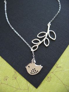 Spotted sparrow and Branch necklace by Blackswanjewels at Etsy.com ($29)