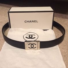 "AUTHENTIC black CHANEL belt ,dust bag, box AUTHENTIC  beautiful black leather Chanel belt. Silver metal closure with black CC logo . Measures 32"" long. Comes with dust bag & box .Belt is in used condition and great shape ! The leather is in excellent condition with no scratches . Silver logo part has some light scratches as pictured as normal metal does  Nothing deep , can be buffed out , Wouldn't notice unless you were starring right at it . Fair offers are welcomed , keep in mind posh…"