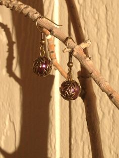 Wine Pearl and Antique Gold Earrings by RebelScumPrincess on Etsy, $12.00