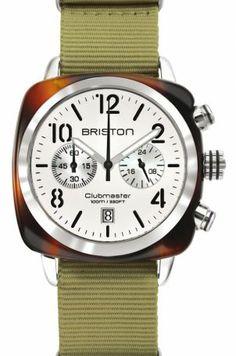 Clubmaster Chronographe Date Ecaille Blanc Argenté Bracelet kaki