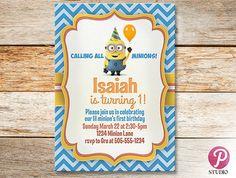 Minions Birthday Party Invitation Digital and by prettypixelstudio