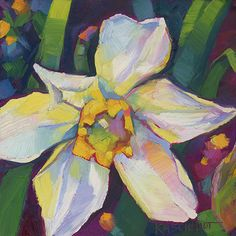 Louisiana Edgewood Art Paintings by Louisiana artist Karen Mathison Schmidt: Another in a series of daffodils