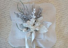 Winter wedding ring bearer pillow in ivory by KrumpetsDesigns, $35.50