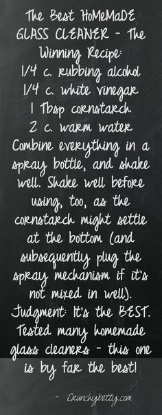 The BEST HoMeMaDe Glass Cleaner - The WINNING Recipe!! {CrunchyBetty.com}  Quote courtesy of Pinstamatic 12.8.12