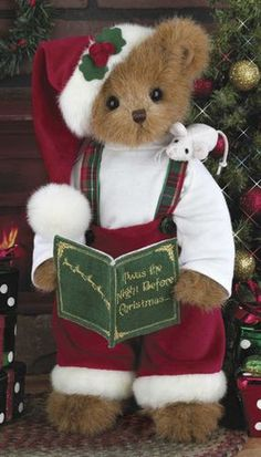 Bearington Bears - Christopher Christmouse Christmas Bear for sale online Christmas Teddy Bear, Noel Christmas, Country Christmas, All Things Christmas, Christmas Crafts, Christmas Decorations, Xmas, My Teddy Bear, Cute Teddy Bears