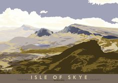 Isle of Skye: Quiraing by Stewart Bremner at Indy Prints - 2 Mountain Mural, Vintage Travel Posters, Poster Vintage, Railway Posters, England And Scotland, Scotland Travel, Great Pictures, Landscape Paintings, National Parks