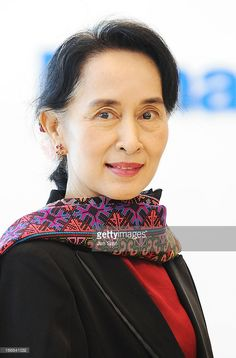 Myanmar's opposition democratic leader <a gi-track='captionPersonalityLinkClicked' href='/galleries/personality/214208' ng-click='$event.stopPropagation()'>Aung San Suu Kyi</a> visits Panasonic Center showroom on April 18, 2013 in Tokyo, Japan.
