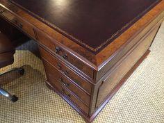 Burr Walnut Desk top corner. Brown leather inlaid top with decorative gilding.