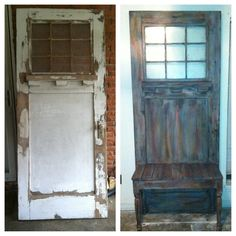 old door projects hall tree | Recycled a wooden door into an entry ...