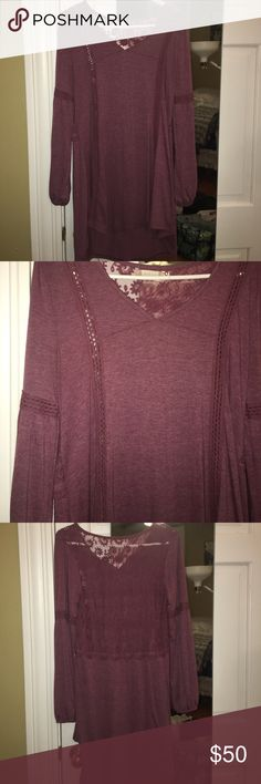 Purple long sleeve dress Worn twice; excellent condition. Back lace detail. Perfect fall dress! Altar'd State Dresses Long Sleeve