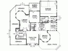 queen anne house plans. Kitchen Opens To A Sun Room (HWBDO07480) | Queen Anne House Plan From BuilderHousePlans.com Next - Pinterest Anne, Queens And Plans L