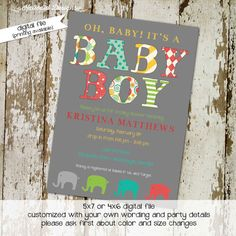 baby boy shower invite, elephant, digital, printable file (item 1209) baby shower invite