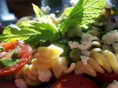 Green Pea and Mint Pasta Salad with Feta Cheese #salad #recipes #healthy_foods