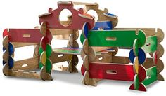 Wooden Fort-Playhouse Building Kits Let your little constructors build their own fortresses, houses, towers or playhouses with the same ease as putting together a puzzle. Kids Indoor Playhouse, Build A Playhouse, Wooden Playhouse, Backyard Playhouse, Toys For Boys, Kids Toys, Wooden Fort, Wooden Playset, Wooden Building Blocks
