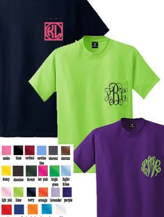 Personalized Pocket Tee with Your Choice Monogram - Miss Lucy's Monograms